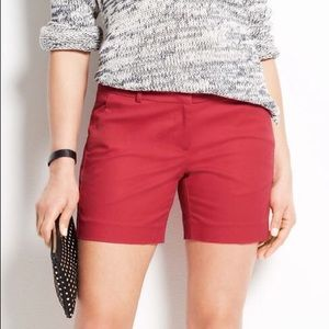Ann Taylor Red Metro Shorts Stretch Cotton Twill